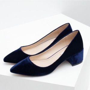 Zara Blue Velvet Block Heels